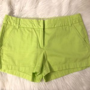 Lime Green J. Crew Chino Shorts